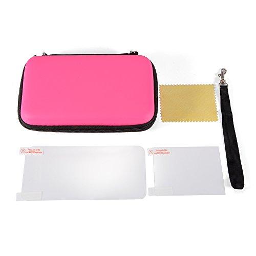 a Hard Carrying Case Aufbewahrungs Tasche + Displayschutzfolie Set für Nintendo New 2DS XL/LL Spiel Konsole Pink AC1179 ()