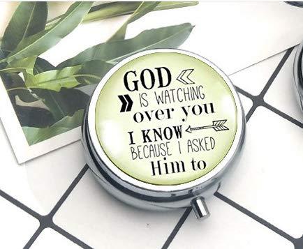 asd Faith-Schlüsselanhänger God is Watching Over You, christlicher Schlüsselanhänger für Männer und Frauen, Pillendose