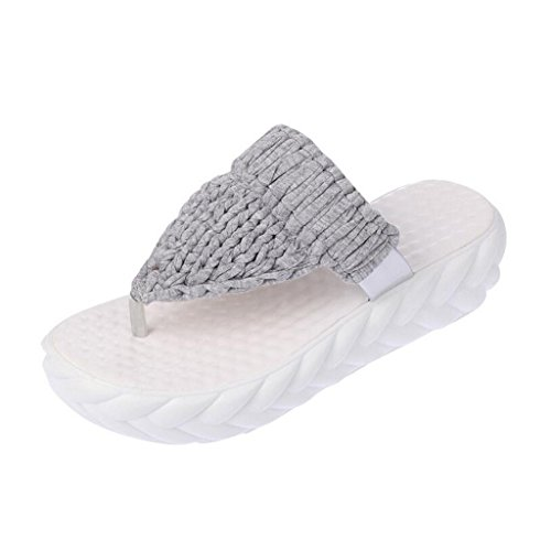 Binying Tongs Femme Tricot Plateforme a Enfiler Gris
