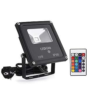 ledgle 10w rgb projecteur led lampe ext rieur ip66 avec 16 couleurs et 4 modes d 39 clairage pour. Black Bedroom Furniture Sets. Home Design Ideas