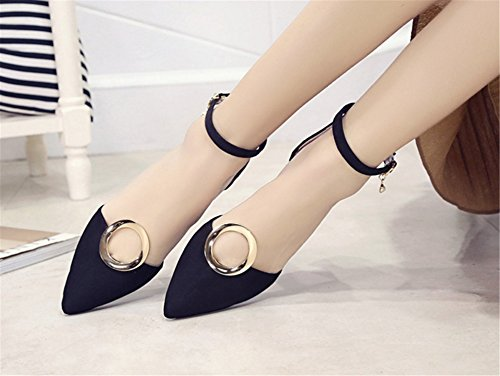 SHUNLIU Damen Blockabsatz Sandalen High Heels Wildleder Sandalen Damen Spitze High Heels Blockabsatz Wildleder Pumps mit Wort Schnalle Bequeme Geschlossen Schuhe Schwarz