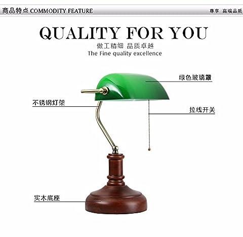 Nordic Chinese, old Shanghai, vintage wood, green bank lights, antique nostalgia, bedroom, bedside, study desk lamp, voltage: