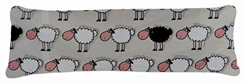 Bezug Seitenschläferkissen Schaf schwarz weiß - 145x40 cm