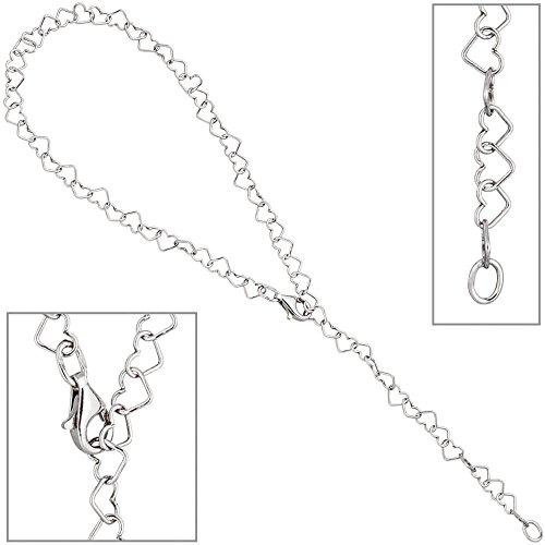 Fußkettchen Fußkette aus Herzen 925 Silber 27cm verkürzbar Fußschmuck für Damen