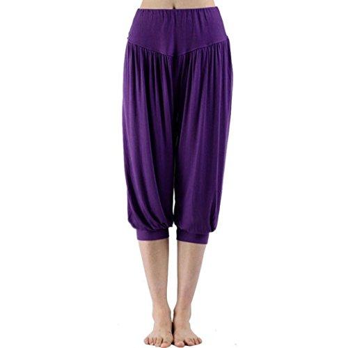 Huihong Damen Capris Hosen Sport Harem Hosen 3/4 Hosen Elastische Taille Yogahosen Shorts Hose Pumphose (Lila, L)