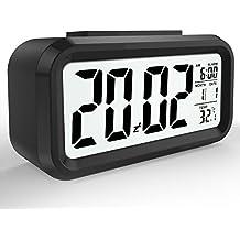 LED Digital Alarma despertador,Mture Despertador LED con información de fecha, función snooze, sensor luminoso y luz nocturna,Negro