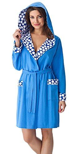 Preisvergleich Produktbild DOROTA edler Damen Bademantel aus 100% Baumwolle im trendigen Muster mit Kapuze Taschen und Bindegürtel, blau-großgepunktet, Gr. S
