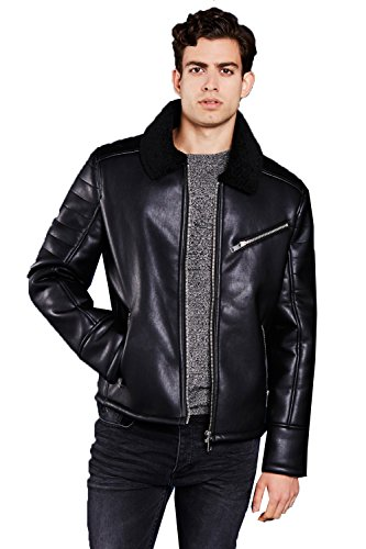 Mens Brave Soul Suede Faux Leather Vintage Aviator Sherpa Lined Jacket