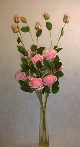 ramo de Flores artificiales tallos rosa rosas 75cm listo para un florero juego de 3tallos, hecho a mano de goma EVA