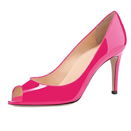 elashe Damen Peeptoe Pumps   8cm Stiletto High Heel   Bequeme Lack Stilettos Rose EU40