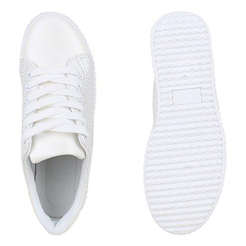 Plateau Sneakers | Damen Sneaker Low | Glitzer Metallic Schuhe | Sportschuhe Strass | Turnschuhe Lack Animal Print | Camouflage Weiss Weiss