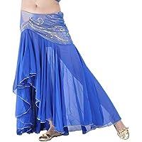 Calcifer - Falda de Gasa para Danza del Vientre, Disfraz de Baile, Vestido de Baile, para Mujer, Color Azul