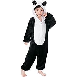 "Dolamen Niños Unisexo Onesies Kigurumi Pijamas, Niña Traje Disfraz Animal Pyjamas, Ropa de dormir Halloween Cosplay Navidad Animales de Vestuario (110-120CM (435 ""-47""), Panda)"
