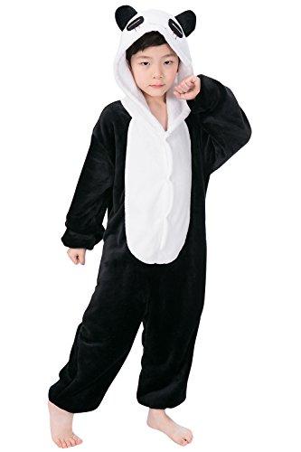 Dolamen Enfant Unisexe Kigurumi Combinaison Pyjama Onesies, Fille Garçon Fleece Anime Cosplay Halloween Noël Fête Costume Soirée de Déguisement Vêtement de nuit (130-140CM (51 '-55'), Panda)