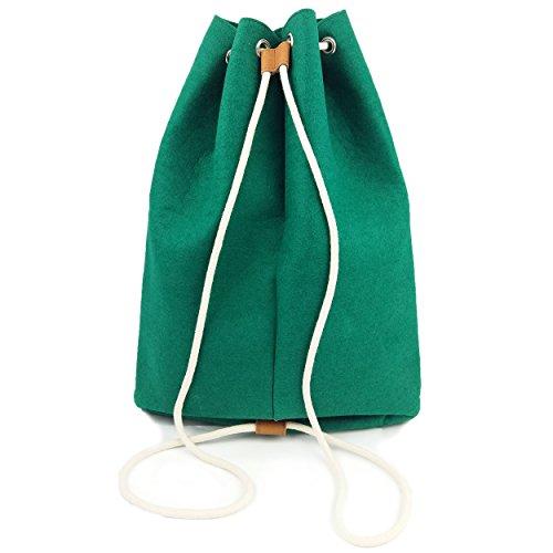 Venetto Sportrucksack Rucksack Sack Turnbeutel Beutel aus Filz für Sport, Fußball, Schule, Wandern, sehr leicht mit Schuhfach backpack unisex (Grün dunkel) Grün dunkel
