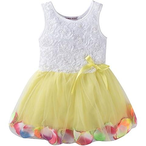 ZOEREA bambine abito neonate bambina collezione Layered Organza Ruffle Skirt Pageant bowknot senza maniche Rose Garden del petalo del fiore Lace Ruffle Partito vestito in pizzo
