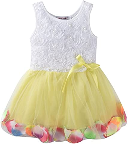 ZOEREA Baby Girls Kids Princess Rose Garden Flower Petal Lace Ruffle Tulle Tutu Dress Undress Outfits Tulle Skirts Bowknot Lace Sleeveless Party Dress Yellow