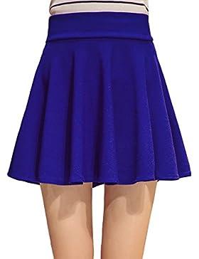 Mujer Tamaño grande Falda Básica Corto Elástica Plisada Falda de swing Cintura Alta