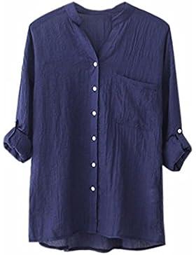 Lenfesh Camisa Manga Larga Sólida de Algodón Lino Camisa Blusa Mujer Verano Primavera Blusa Bolsillo Suelta Casual...