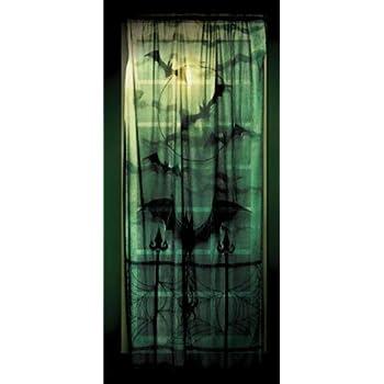 Halloween Deko Vorhang für Fenster Fledermaus Horror Motiv 2,13 Meter x 1,01 Meter mit Vampirfledermaus Schatten Grusel Deko Wand Verkleidung auch als Tischdecke zu Halloween Gothic Style