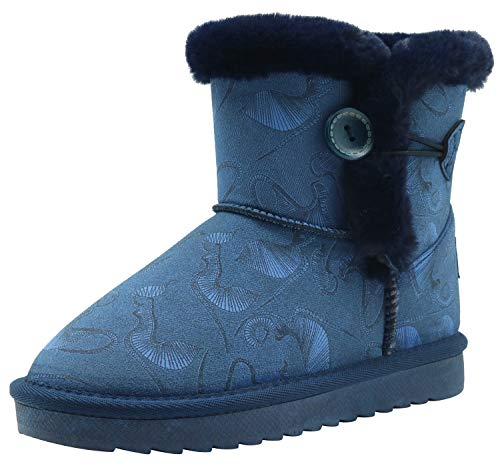 Apakowa Kids Girls Warm Winter Bailey Button Snow Boots (Toddler/Little Kid)