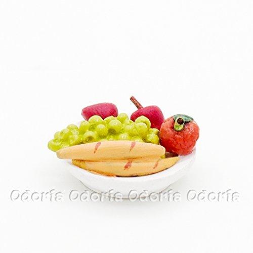 Odoria 1/12 Miniatur Lebensmittel Salat Teller mit Frucht Für Puppenhaus Küchen