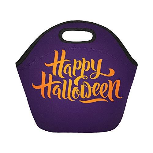 Isolierte Neopren-Lunch-Tasche Happy Halloween Grußkarte Kalligraphie Halloween Große wiederverwendbare thermische dicke Lunch-Tragetaschen Für Brotdosen Für den Außenbereich, Arbeit, Büro, Schule
