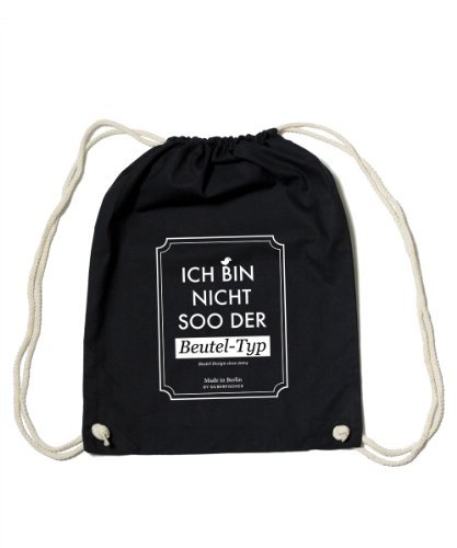 Gym Bag Black 'Beuteltyp' +++ vom Streetwear Design Grafiklabel SILBERFISCHER +++ HANDMADE IN BERLIN