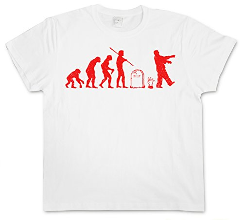 ZOMBIE EVOLUTION WHITE T-SHIRT - Horror Biters The Walking Shirt Dead Walkers Living Zombi Taglie S - 5XL