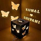 Craft Village Customize Couple Name Wooden Square Shadow Box (Black, Medium)