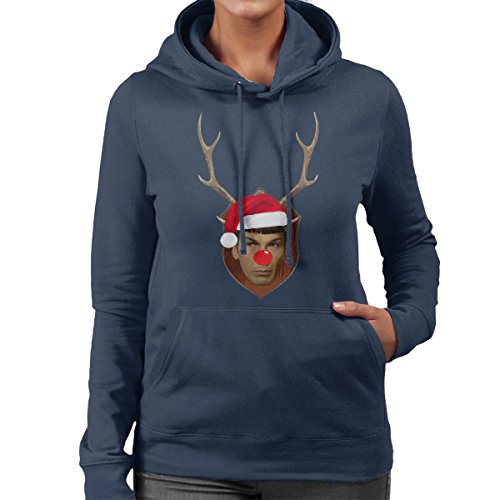 Spock Star Trek Christmas Antler Head Women's Hooded Sweatshirt Navy Blue