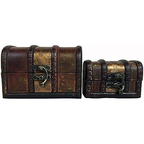 Confezione da 2, decorazione in legno anticato, stile ciottoli Treasure Chest Trinket-Mini Boxes. 2 scatole che graduato da inserirvi dentro l'altro. - Stamp Treasure Box
