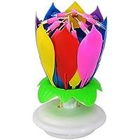 sungpunet 2piezas fiesta de cumpleaños decoraciones, varios colores para la rotación música velas de cumpleaños