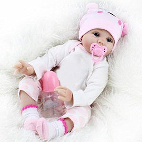 22 Inch 55cm Hübsche Puppe Baby Neugeborenen Silikon Realistische Handwerk Puppen mit Kleidung – der Beste Gaming-Begleiter und Geschenk für Kinder – Beste Geburtstagsgeschenk und Weihnachtsgeschenk