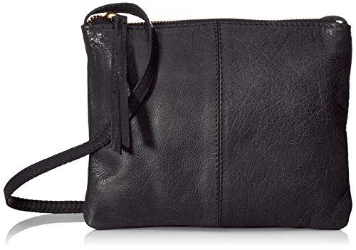 PIECES Damen Pcasta Leather Cross Body Umhängetasche, Schwarz (Black), 2x16x21 cm (Crossbody Umhängetasche)