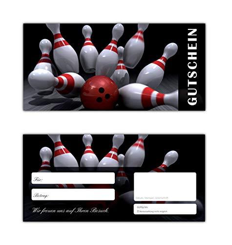 10 Stück Geschenkgutscheine (Bowling-637) Gutscheine Kegeln Postkartenkarton