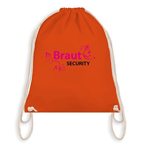 JGA Junggesellinnenabschied - Braut Security - Turnbeutel I Gym Bag Orange