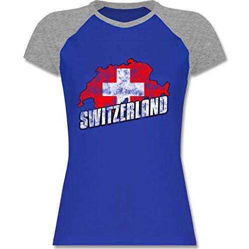 EM 2016 - Frankreich - Switzerland Umriss Vintage - zweifarbiges Baseballshirt / Raglan T-Shirt für Damen Royalblau/Grau meliert