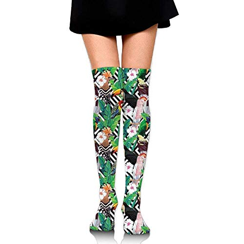 OQUYCZ Woman Tropical Birds Toucan Hoopoe and Exotic Leaves Comoposition Geometric Background Breathable High Boot Socks