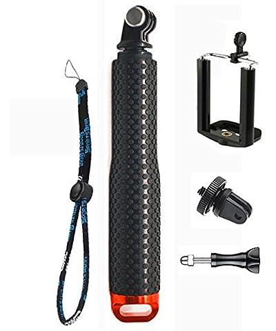 IBROZ®–GoPro–ibarr Schaft Selfie Diving Pro ausziehbar Deluxe Aluminium–Gabel Teleskop für GoPro® HERO 4, 3+, 3, 2, 1und andere Kameras (Behandlung Anti Corrosion)–Rot