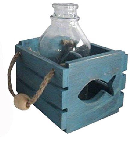 osters muschel-sammler-shop Holzbox mit Glas-Flasche in Beachoptik und Jutebändern/Motiv Fisch - Auch als Windlicht zu benutzen - Maritime Tisch-Dekoration für Drinnen und Draußen (Blau)