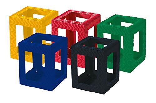 folia 9709/5 - Laternen Rohlinge, Laternenzuschnitte Mini aus Wellpappe, 5 Stück sortiert in 5 Farben, zum Zusammenstecken ohne Kleber, ideal zum Gestalten individueller Laternen oder Tischlichter - 5-laterne