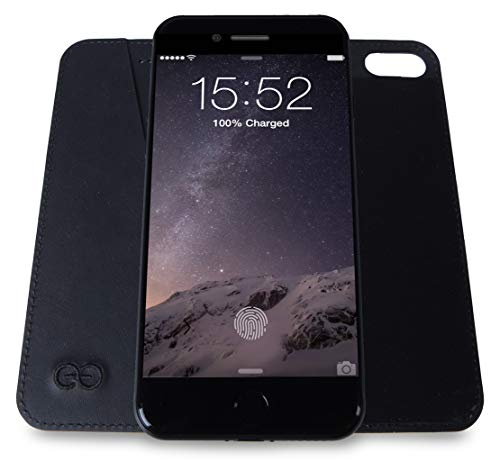 Dreem Bond Micro-Suction Wallet Folio for iPhone 8, Ultra Slim Detachable Design, Swanky Soft Vegan Leather, RFID Protection, Kick-Stand, Premium Gift-Box - Black Micro Folio