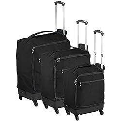 Xcase Kofferset: 3 ultraleichte Reise-Trolleys mit 46, 57 und 78 Liter Volumen (Koffer-Trolley-Set)