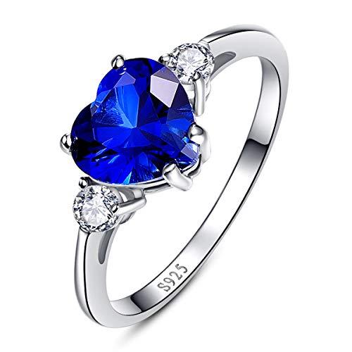 Bonlavie Damen Ring Blau Herz Liebe Saphir 925 Sterling Silber Zirkonia Verlobungsring Frauen Schmuck Geschenk