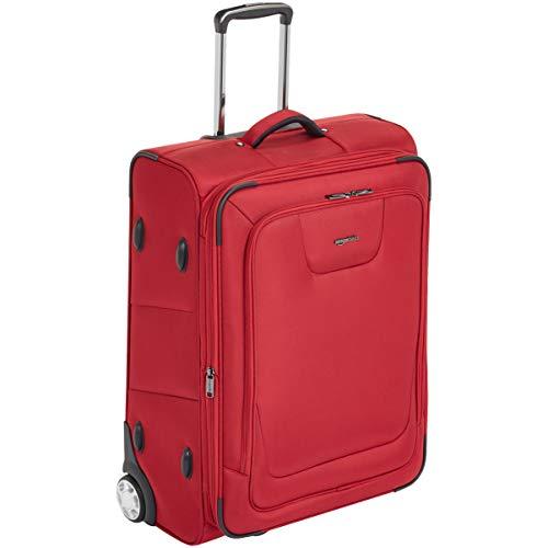 AmazonBasics - Trolley da viaggio espandibile, morbido, con chiusura TSA e rotelle, 66 cm, rosso