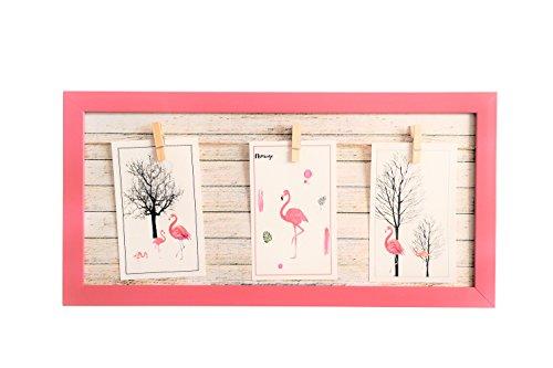 GUTEINTE Bilderrahmen Wand Multi Fotos Seil Wand Bilderrahmen mit Seil Foto Halter Bilderrahmen Wanddekoration, Fotorahmen Collage 40 x 20 cm - Pink