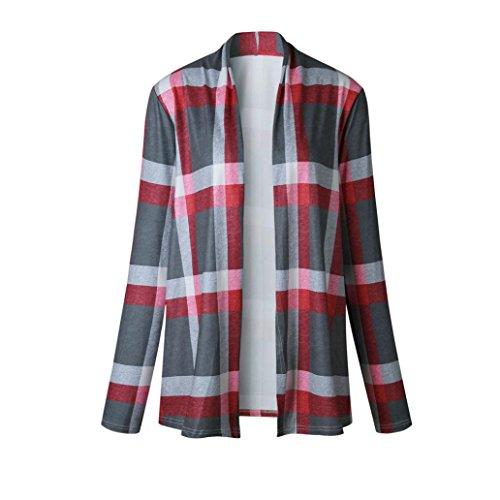 Clode® Femmes plaid ouvert Cape Casual manteau blouse veste kimono Gris