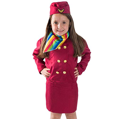 Flight Kostüm Halloween Attendant - NiQiShangMao Prinzessin Mädchen verkleiden Sich Stewardess Rollenspiel Kinder Pilot Uniform Flight Attendant Rock Cosplay Kostüme Halloween Karneval Wear