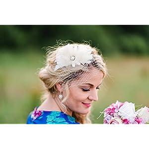 Brautschleier Hochzeit Wedding birdcage bride Braut Röschen elfenbein weiß Blüte LB30